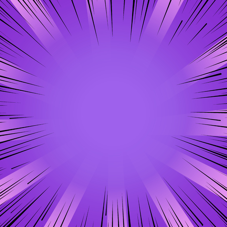 strip design: Abstract comic book flash bright purple explosion radial lines background. Vector illustration for superhero design. Light strip burst. Flash ray blast glow Manga cartoon hero fight cute print