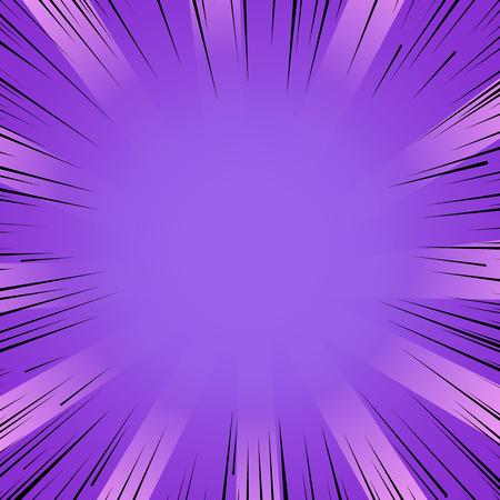 Abstrakt Comic Buch Blitz lila Explosion radialen Linien Hintergrund. Vektor-Illustration für Superheld-Design. Lichtstreifen platzen Flash-ray Blast Glow Manga Cartoon Held Kampf niedlichen Druck Vektorgrafik