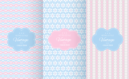 cute background: Baby pastel different vector seamless patterns. Endless texture can be used for wallpaper, pattern fills, web page background, surface textures. Set of cute abstract ornaments.