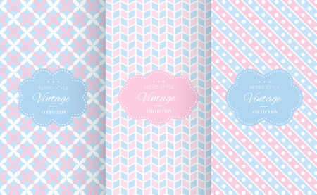 Baby pastel different vector seamless patterns. Endless texture can be used for wallpaper, pattern fills, web page background, surface textures. Set of cute abstract ornaments.