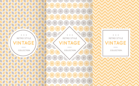 grey background texture: Soft different vector seamless patterns. Endless texture for wallpaper, fill, web page background, texture. Set of delicate geometric ornament. Yellow, grey and white shabby colors