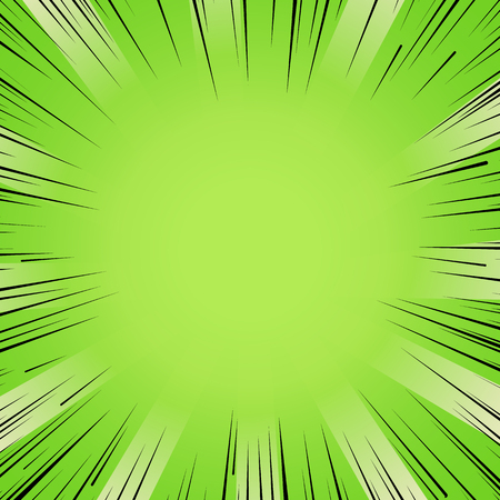strip design: Abstract comic book flash bright green explosion radial lines background. Vector illustration for superhero design. Light strip burst. Flash ray blast glow Manga cartoon hero fight cute print Illustration