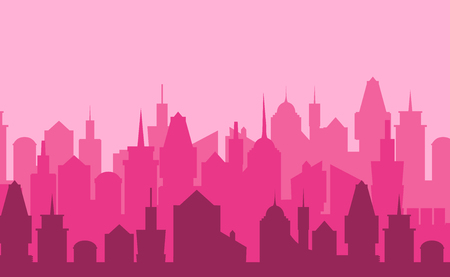 landscape architecture: Set of cityscape background. Skyline silhouettes. Modern architecture. Pink urban landscape. Horizontal banner with megapolis panorama. Building icon. Vector illustration Illustration