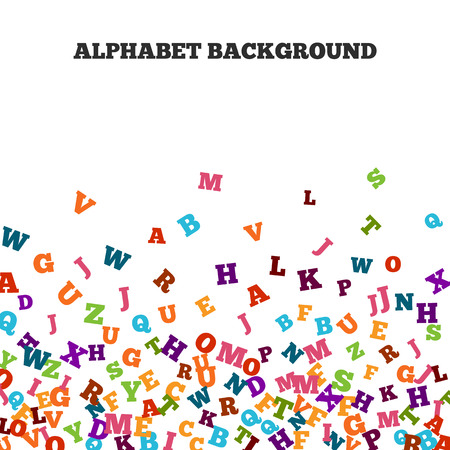 grammar school: Abstract colorful alphabet ornament border isolated on white background. illustration for bright education, writing, poetic design. Random letters fly top. Book concept for grammar school. Stock Photo