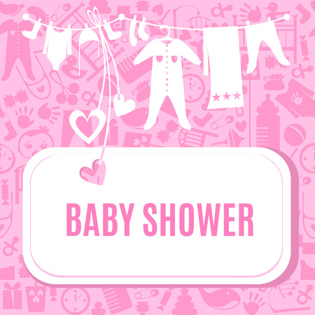 cute baby girls: Baby shower card in pink color. Arrival postcard for girls with place for your text. Invitation on newborn toddler birthday. illustration. Cute pretty tender invite poster flyer template.
