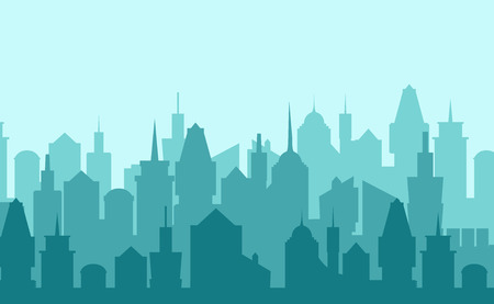 landscape architecture: Set of cityscape background. Skyline silhouettes. Modern architecture. Blue urban landscape. Horizontal banner with megapolis panorama. Building icon. Vector illustration