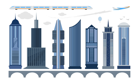 Set of city icons. Modern high-rise building, bridge, plane, train isolated on white background. Vector illustration for town architecture design. Illustration