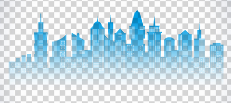 landscape architecture: Cityscape blue icon on transparent background. Skyline silhouette. Town architecture skyscrapers. International urban landscape. Megapolis panorama. Vector illustration on transparent background