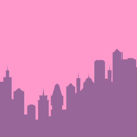 landscape architecture: Set of cityscape background. Skyline silhouettes. Modern architecture. Pink urban landscape. Horizontal banner with megapolis panorama. Building icon. Vector illustration on transparent