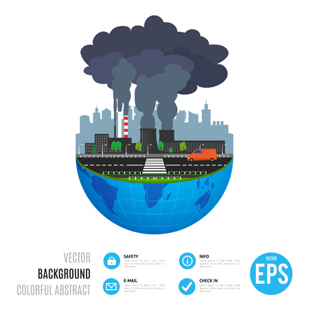 industrial industry: Industry earth concept. Vector illustration for global industrial. Flat cartoon. World factory on white background. Plant isolated. Smoke, smog production. Pollution manufacturing sign.