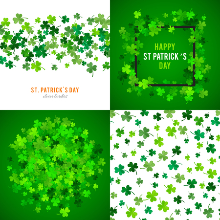 site backgrounds: Set of St Patricks Day backgrounds. illustration for lucky spring design with shamrock. Green clover wave border isolated on green background. Ireland symbol pattern. Irish header for web site.