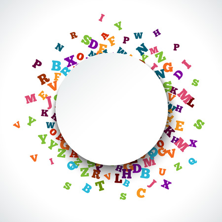 fly around: Abstract colorful alphabet ornament border isolated on white background. illustration for bright education, writing, poetic design. Random letters fly around. Book concept for grammar school.
