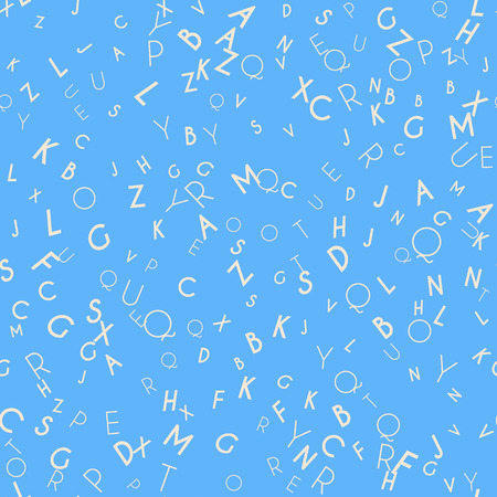 Random letters seamless pattern. Abstract background with alphabet. Creative wallpaper design in office style. Mix of letters. Latin ABC. Promotion of reading, publishing and copyright. Stock Photo