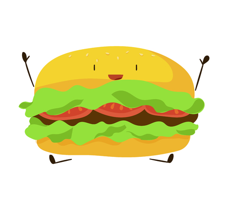 Funny fast food hamburger icon. Vector illustration for restaurant burger menu design. Sandwich cartoon comic character. Cheeseburger isolated on white background. American unhealthy diet lunch