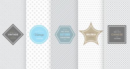 Hellgrau nahtlose Muster Hintergrund. Vektor-Illustration für elegantes Design. Abstrakte geometrische Rahmen. Stilvolle dekorative Label Set. Mode universal Hintergrund.