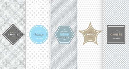 diamond texture: Light grey seamless pattern background. Vector illustration for elegant design. Abstract geometric frame. Stylish decorative label set. Fashion universal background.