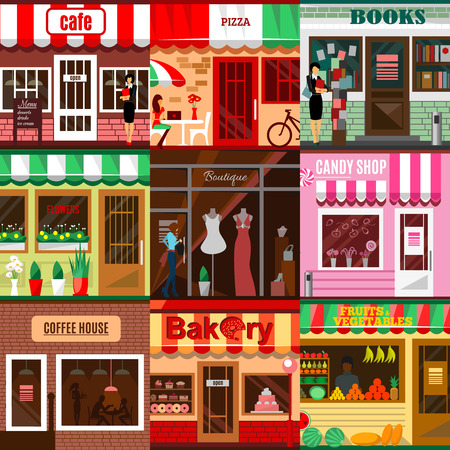 fruit candy: Set of flat shop building facades icons. illustration for local market store house design. Street cafe, small business retail, pizza candy front kiosk, baby boutique fruit food mall concept app