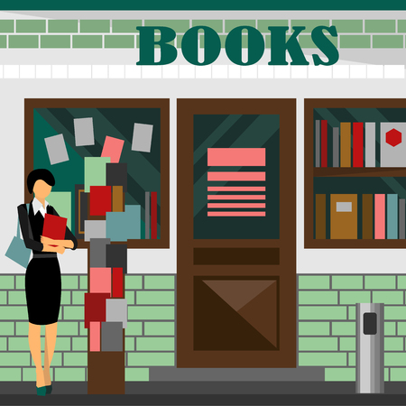 building lot: bookstore mall. Books shop building. Woman silhouette with booklet. A lot of paper in a store window. Library. Education market. Cute architecture facade. Flat style illustration. Boutique Stock Photo