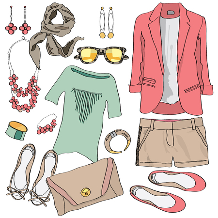 casual dress: Casual women clothes collection. Decorative icon sketch set with jacket, t-shirt, two pairs of shoes and cute accessories. Modern fashion outfit summer dress element. illustration top view