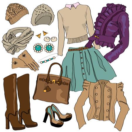 moda ropa: Ilustración de la colección de moda femenina de ropa. objetos mano Esbozo aislado en blanco. Lindo botas, zapatos, suéteres, blusas y chaquetas. Nueva colección de primavera. estilo de la belleza