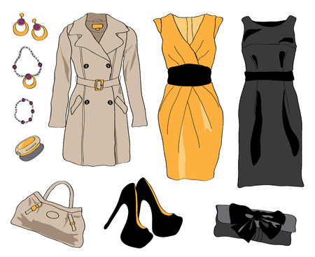 fashion collection: Woman wardrobe accessories set. Collection of dresses, coat, shoes and accessories. Fashion boutique poster. illustration, isolated on background. Modern clothes for a party or special occasion