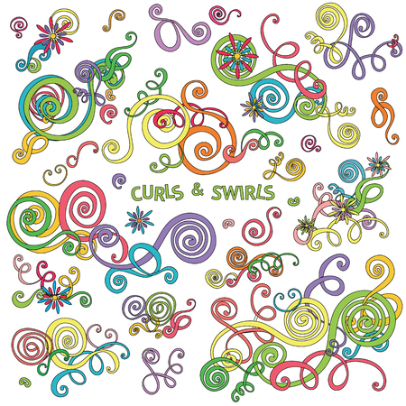 decoration style: Curls and swirls design elements. Decorative floral background. Flower wave ornaments. Hand drawn doodle sketch style. Abstract floral graphics. Cute clip art spirals. decoration illustration