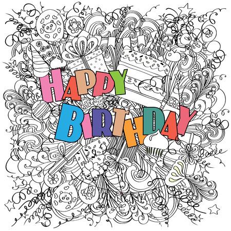 tortas de cumpleaños: Feliz tarjeta de felicitación de cumpleaños en el fondo blanco con elementos de celebración. saludo de cumpleaños de la diversión, brillante y original hecha en el estilo de dibujo. Regalos, pasteles y dulces. Cartel alegre. .