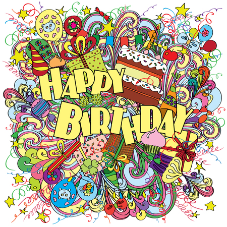 Happy Birthday greeting card on background with celebration elements. Fun, bright and original birthday greeting made in the doodle style. Gifts, cakes and candies. Cheerful poster. . Stock Photo