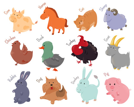 domestic cat: Set of cute cartoon farm animal icon. illustration for funny domestic fauna design. Cow, horse, cat, sheep, chicken, duck, turkey goat rabbit dog donkey pig isolated on white background Stock Photo