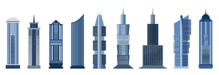 glass office: Skyscraper icon set isolated on white background. Vector illustration for architecture design. Business building exterior. Modern city office. High reflection glass center house