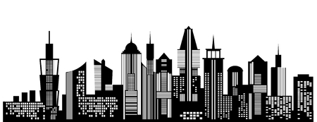 Cityscape black icon on white background. Skyline silhouette. Town architecture skyscrapers. Urban city landscape. Megapolis panorama. Vector new york building illustration Иллюстрация