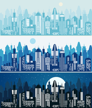 landscape architecture: Set of cityscape background. Skyline silhouettes. Modern architecture. Blue urban landscape. Horizontal banner with megapolis skyscraper panorama. Building icon. Vector city illustration Illustration