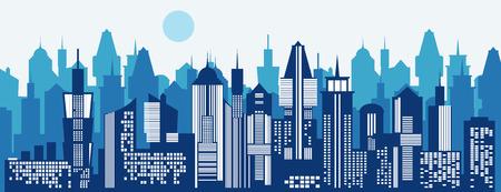 都市景観の背景。スカイライン シルエット。近代建築。青い都市景観。メガポリスの高層ビル パノラマ水平バナー。建物のアイコン。ベクター都市