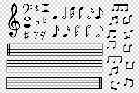 Conjunto de varios iconos de nota negra musical aislado en fondo transparente. Ilustración vectorial para el diseño de música. Modelo de símbolo de melodía. Colección de signos clave. Elemento de tono art.