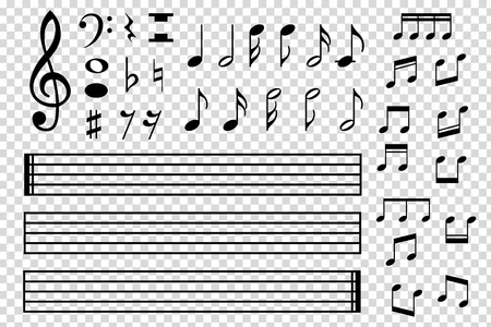 Zestaw ró? Nych ikona czarny muzyczne notatki wyizolowanych na tle przezroczyste. Ilustracja wektora do projektowania muzyki. Wzór symbolu melodii. Kolekcja kluczy. Sztuka elementu tonowego.
