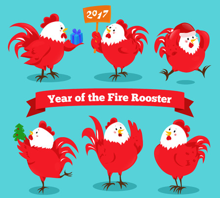 chinese new year vector: Set of cartoon chinese zodiac fire rooster. Vector illustration for holiday design. 2017 New year symbol. Red color. China lunar decoration. Oriental sign. Traditional cock. Crowing chicken bird.