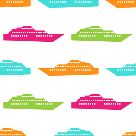 sea transport: Ship seamless pattern. Vector illustration for nautical design. Bright yacht, ship, sailboat transport pattern. Marine sea boat wallpaper background. Cartoon silhouette shape wrapping pattern