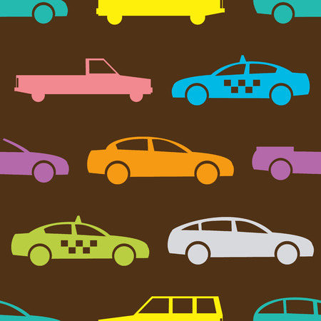 shape silhouette: Retro car seamless pattern. Vector illustration for transport design. Bright vehicle, car, automobile, taxi pattern. Car wallpaper background. Cartoon silhouette shape. Transportation auto pattern