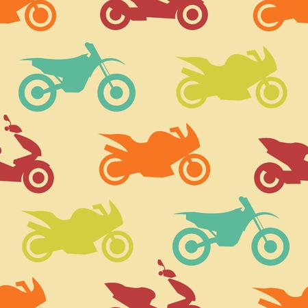 shape silhouette: Retro motorcycle seamless pattern. Vector illustration for bike transport design. Bright vehicle, motorbike, scooter, chopper pattern. Bike wallpaper background. Cartoon silhouette shape.