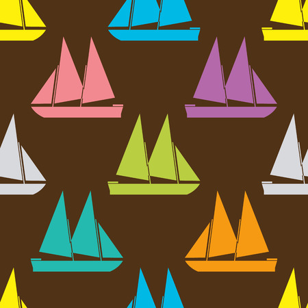 shape silhouette: Boat seamless pattern. Vector illustration for nautical design. Bright yacht, ship, sailboat transport pattern. Marine sea wallpaper background. Cartoon silhouette shape wrapping pattern Illustration