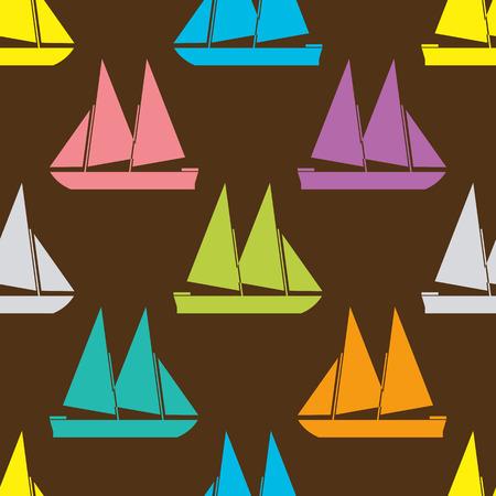 sea transport: Boat seamless pattern. Vector illustration for nautical design. Bright yacht, ship, sailboat transport pattern. Marine sea wallpaper background. Cartoon silhouette shape wrapping pattern Illustration