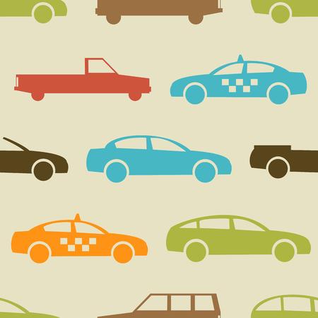 silhouette voiture: Retro seamless. Vector illustration pour la conception de transport. véhicule lumineux, voiture, automobile, modèle de taxi. fond d'écran de voitures de fond. forme de silhouette de bande dessinée. motif automatique de transport