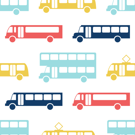 shape silhouette: Retro bus seamless pattern. Vector illustration for transport design. Bright vehicle pattern. Bus wallpaper background. Cartoon silhouette shape. Transportation school bus shape wallpaper pattern