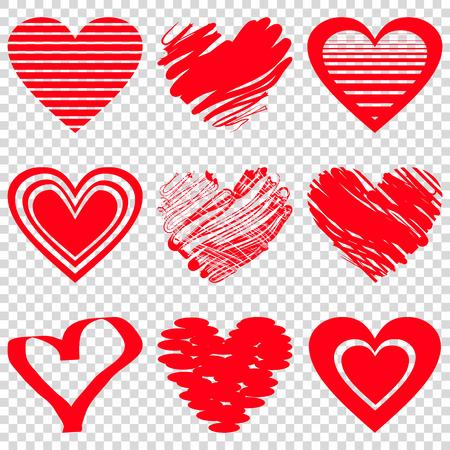 Icônes de coeur rouge. Illustration vectorielle pour la conception de vacances joyeux Saint Valentin. Symbole de coeur de forme romantique. Amour signe graphique. Élément de tirage à la main. Croquis doodle coeurs Vecteurs