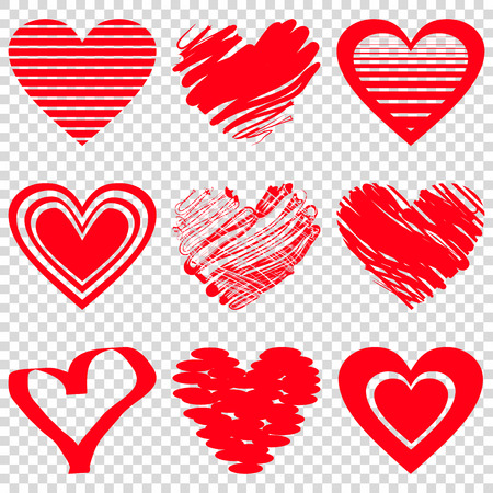 Red heart icons. Vector illustration for happy valentines day holiday design. Romantic shape heart symbol. Love sign graphics. Hand drawning element. Sketch doodle hearts Vettoriali
