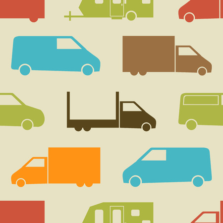 transportation: Retro camion seamless pattern. Illustrazione vettoriale per il trasporto di merci di trasporto. Carta luminosa pattern.Car carta da parati sfondo. Forma della siluetta del fumetto. Trasporto traffico consegna auto