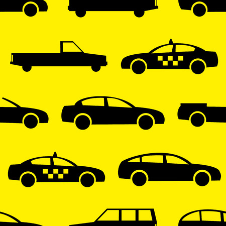 shape silhouette: Car seamless pattern. Vector illustration for transport design. Bright vehicle, car, automobile, taxi pattern. Car wallpaper background. Cartoon silhouette shape. Transportation auto pattern Illustration