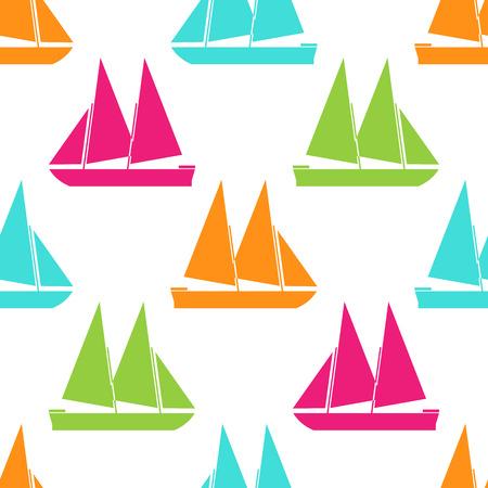 sea transport: Retro boat seamless pattern. Vector illustration for nautical design. Bright yacht, ship, sailboat transport pattern. Marine sea cute wallpaper background. Cartoon silhouette shape wrapping pattern Illustration
