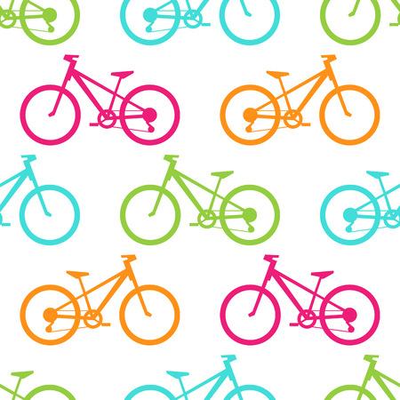 레트로 자전거 원활한 패턴입니다. 자전거 전송 디자인에 대 한 벡터 일러스트 레이 션. 밝은 차량 패턴. 스포츠 경주 타고 귀여운 벽지 배경. 만화 실루엣 셰이프입니다. 건강한 활동적인 여가