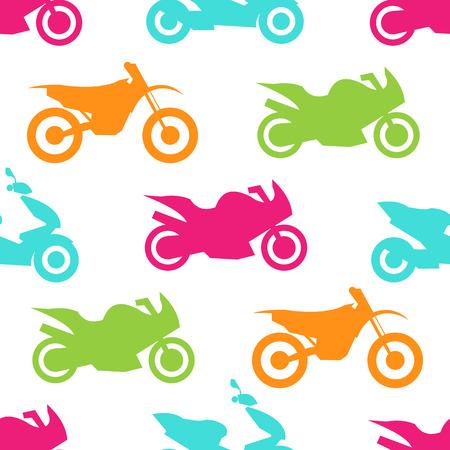 motorbike: Retro motorcycle seamless pattern. Vector illustration for bike transport design. Bright vehicle, motorbike, scooter, chopper pattern. Bike wallpaper background. Cartoon silhouette shape.